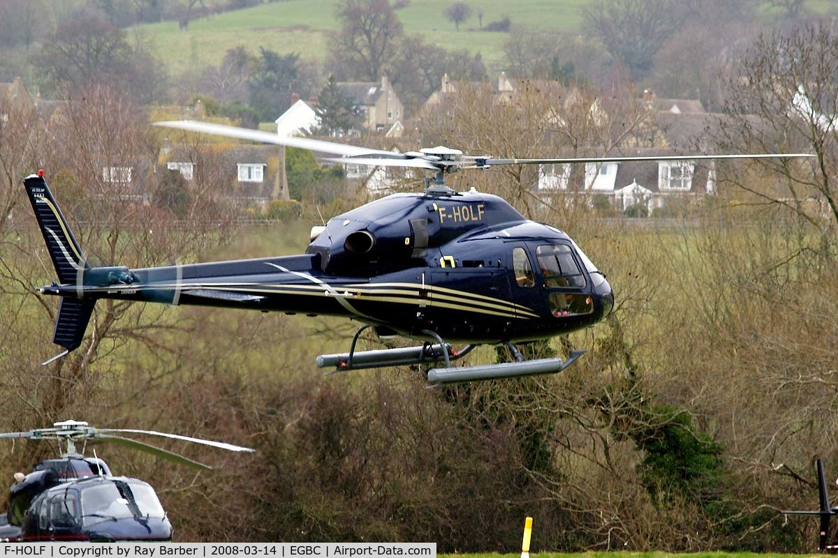 F-HOLF, Eurocopter AS-355NP Ecureuil 2 C/N 5751, Seen at Cheltenham during Gold Cup week.