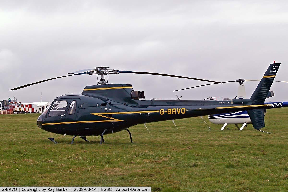 G-BRVO, 1990 Aerospatiale AS-350B Ecureuil C/N 2315, Seen at Cheltenham during Gold Cup week.