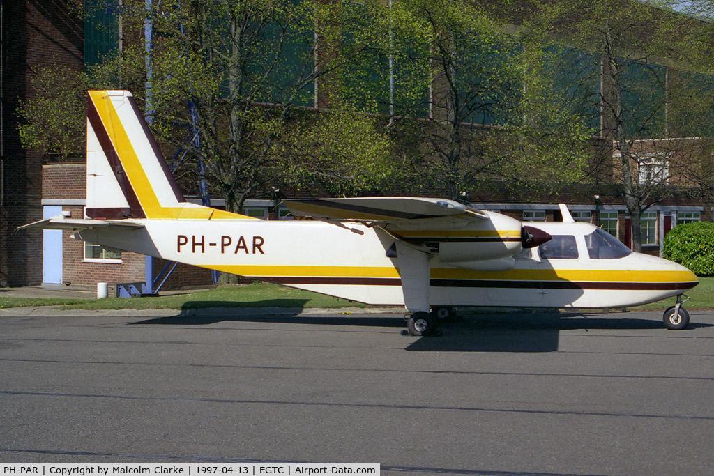 PH-PAR, 1971 Britten-Norman BN-2A-26 Islander C/N 206, Britten-Norman BN-2A-26 Agriculturer Islander at Cranfield Airfield, Beds, UK.