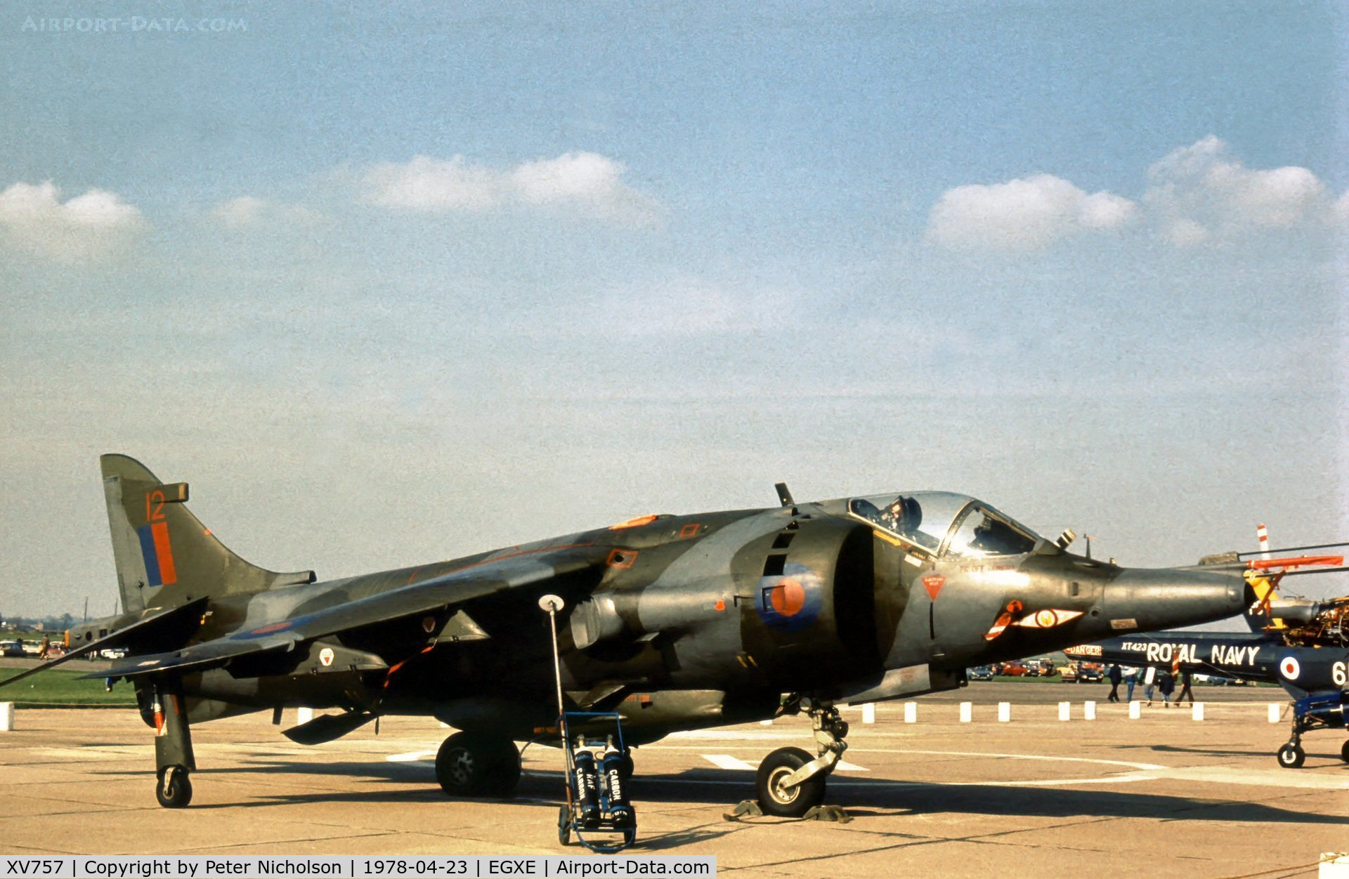 XV757, 1969 Hawker Siddeley Harrier GR.3 C/N 712020, Harrier GR.3 of 1 Squadron on display at the 1978 Leeming Open Day.