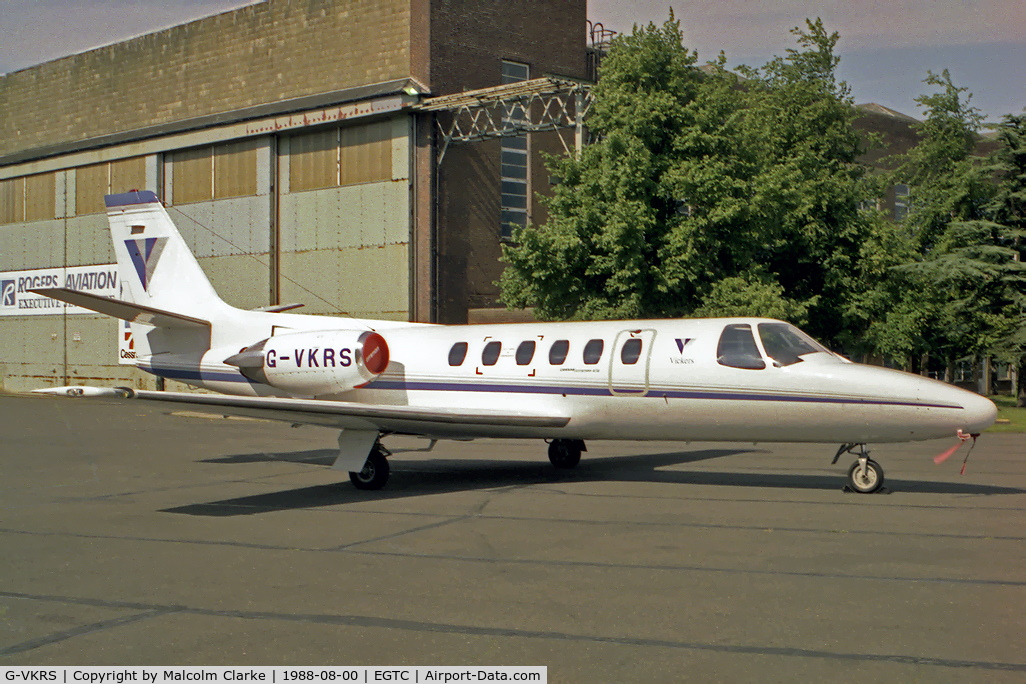 G-VKRS, 1987 Cessna S550 Citation IIS C/N S550-0133, Cessna S550 Citation S/II at Cranfield Airport, UK in 1988.