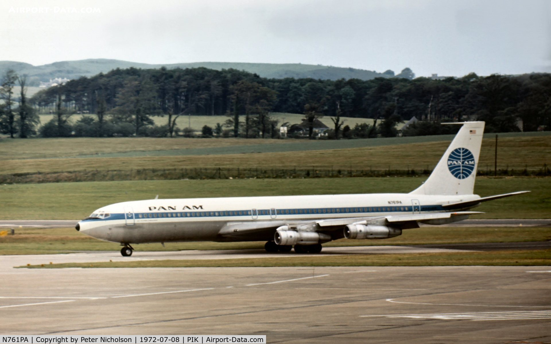 N761PA, 1962 Boeing 707-321B C/N 18336, Pan Am's Boeing 707-321B named Clipper Friendship taxying to the terminal at Prestwick in the Summer of 1972.