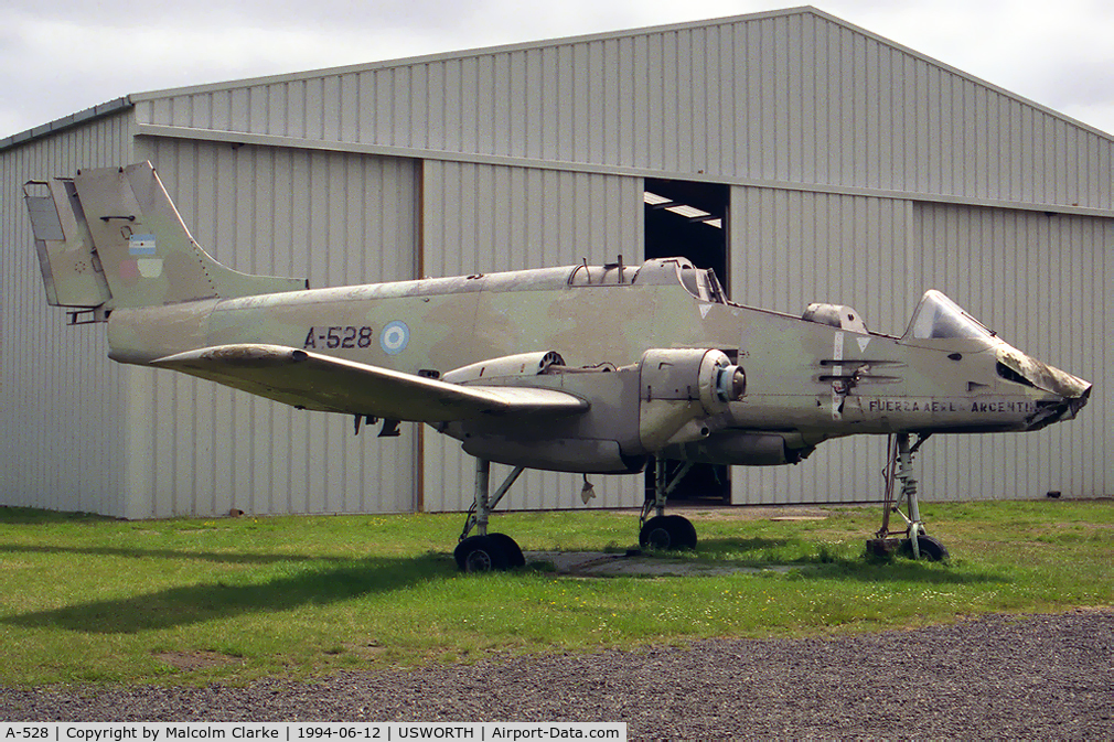 A-528, 1979 FMA IA-58A Pucará C/N 028, FMA IA-58A Pucara at the North East Aircraft Museum, Usworth, UK in 1994.