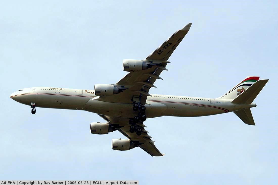 A6-EHA, 2006 Airbus A340-541 C/N 748, Airbus A340-541 [748] (Etihad Airways) Home~G  23/06/2006. Seen on approach 27R.