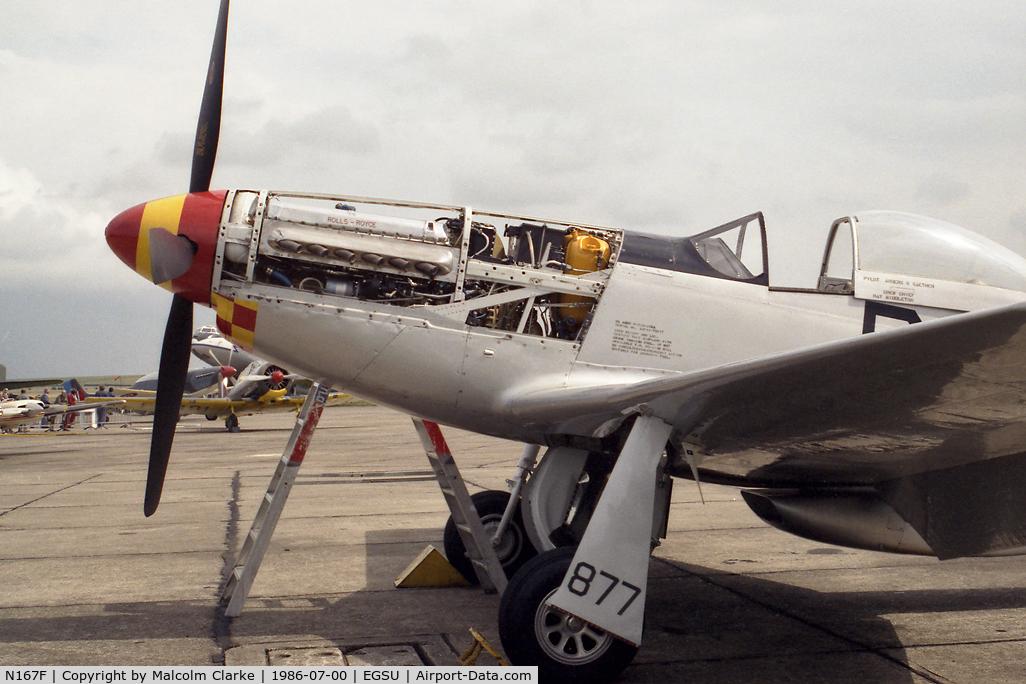 N167F, 1944 North American P-51D Mustang C/N 122-40417, North American P-51D Mustang. Mustang & Merlin - a lethal combination. 'Old Crow' at Duxford in 1986.
