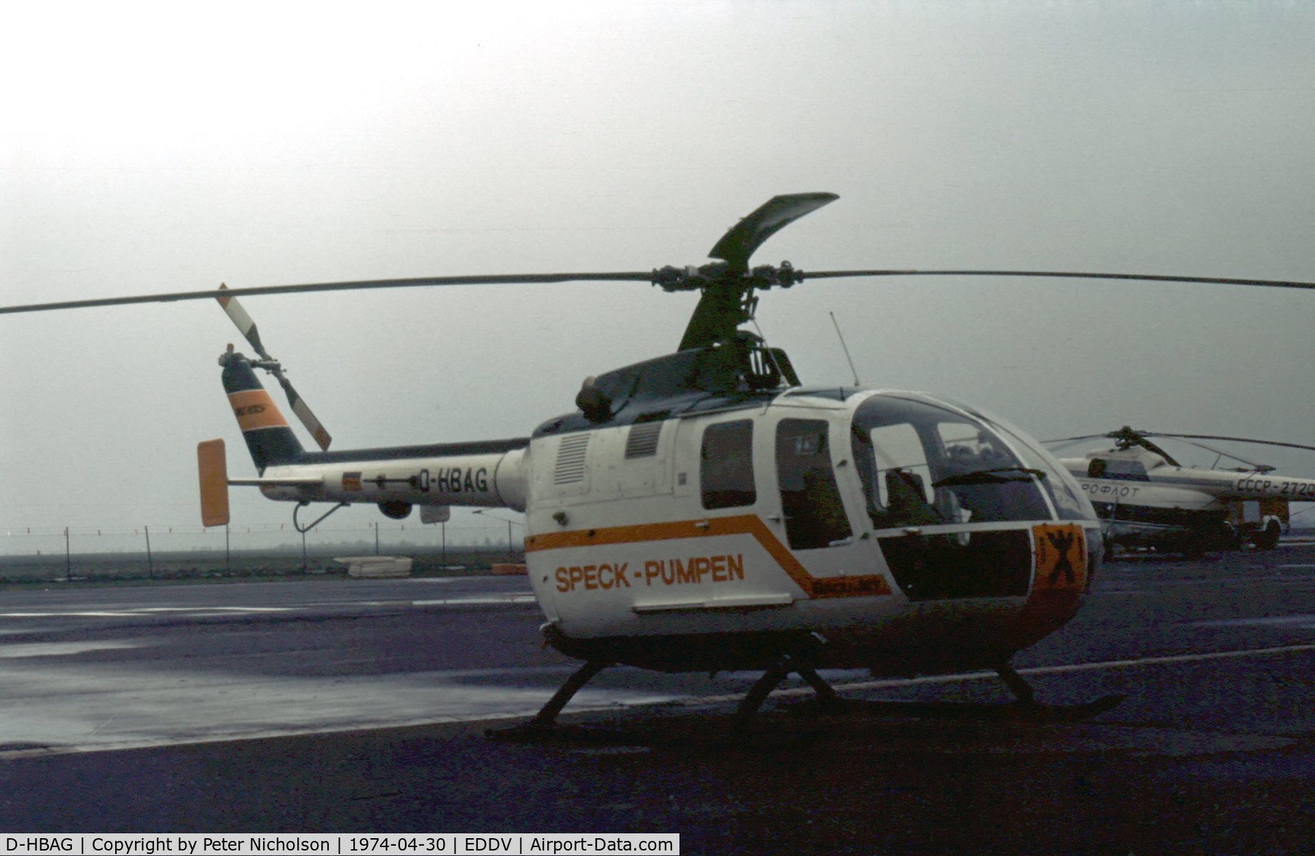 D-HBAG, 1972 MBB Bo-105C C/N S-37, MBB Bo.105 on display at the 1974 Hannover Airshow.