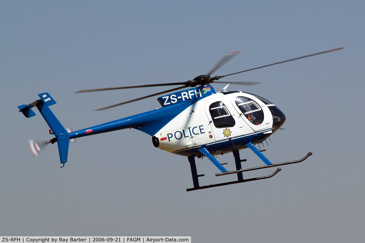 ZS-RFH, McDonnell Douglas 369E C/N 0520E, Used by the South African Police Service. Seen departing from Rand.