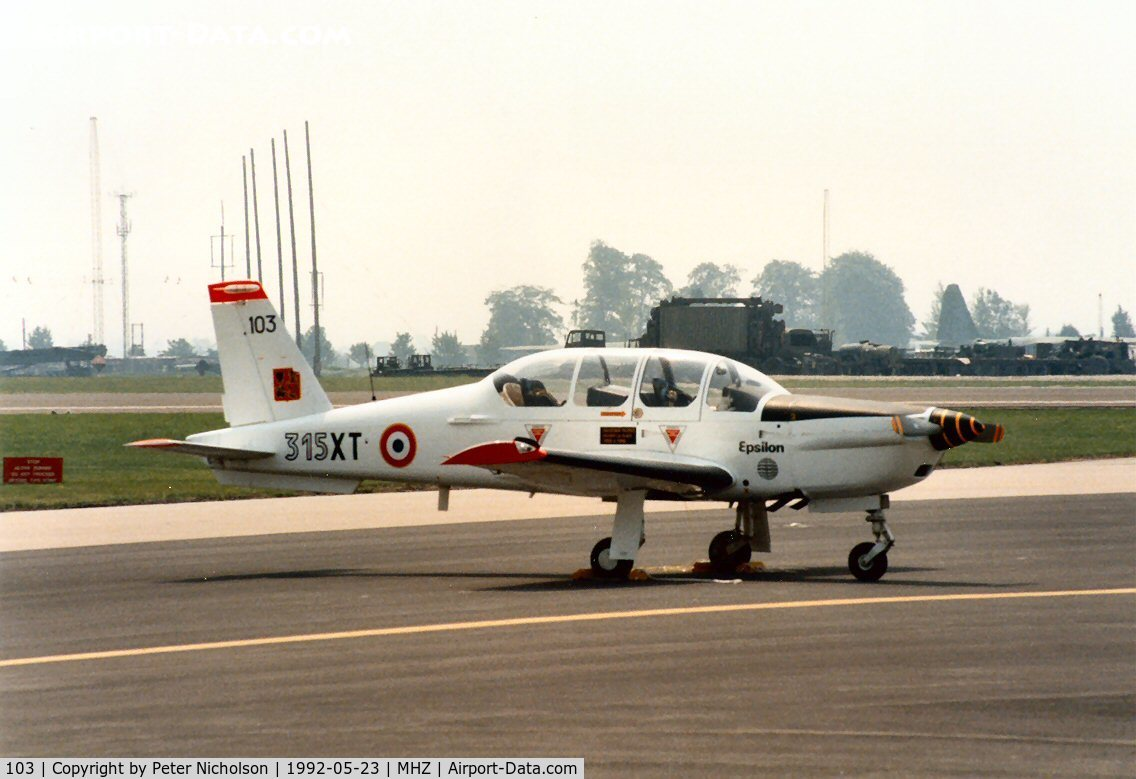 103, Socata TB-30 Epsilon C/N 103, Epsilon of GE.315 French Air Force on the flight-line at the 1992 Mildenhall Air Fete.
