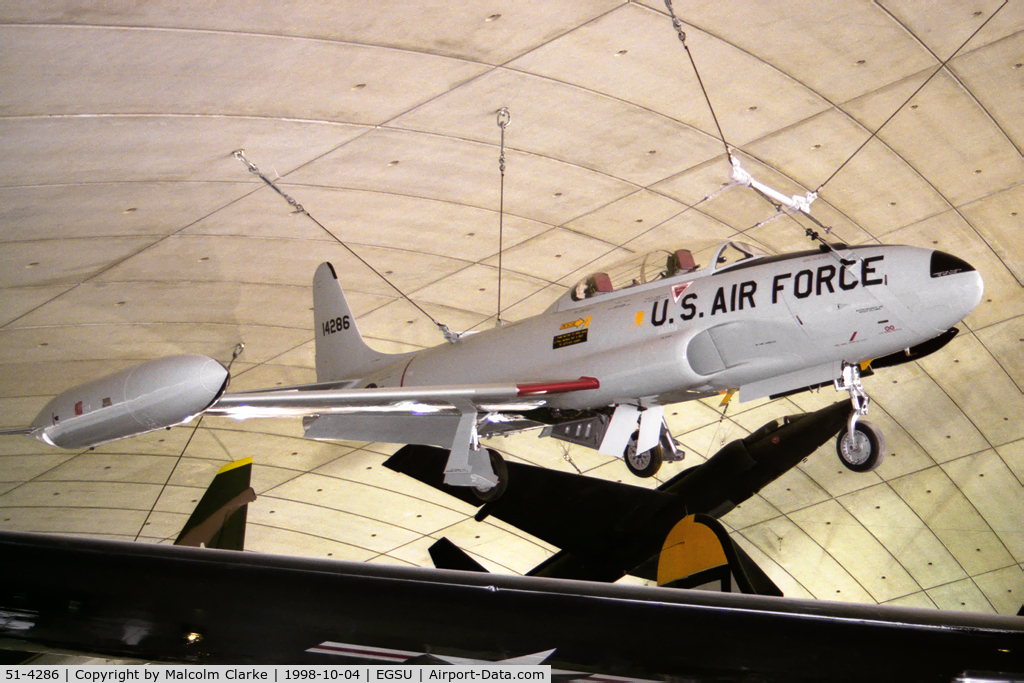 51-4286, 1951 Lockheed T-33A Shooting Star C/N 580-5581, Lockheed T-33A in the American Air Museum at the Imperial War Museum, Duxford in 1998.