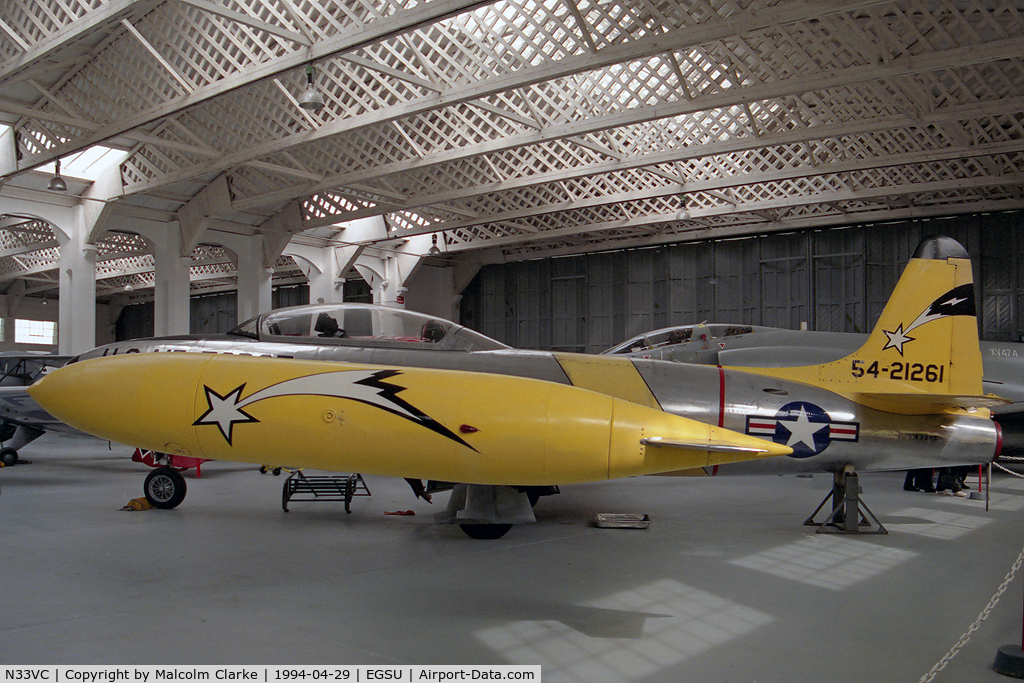 N33VC, 1954 Canadair CT-133 Silver Star 3 C/N T33-261, Lockheed T-33A at the Imperial War Museum, Duxford in 1994.