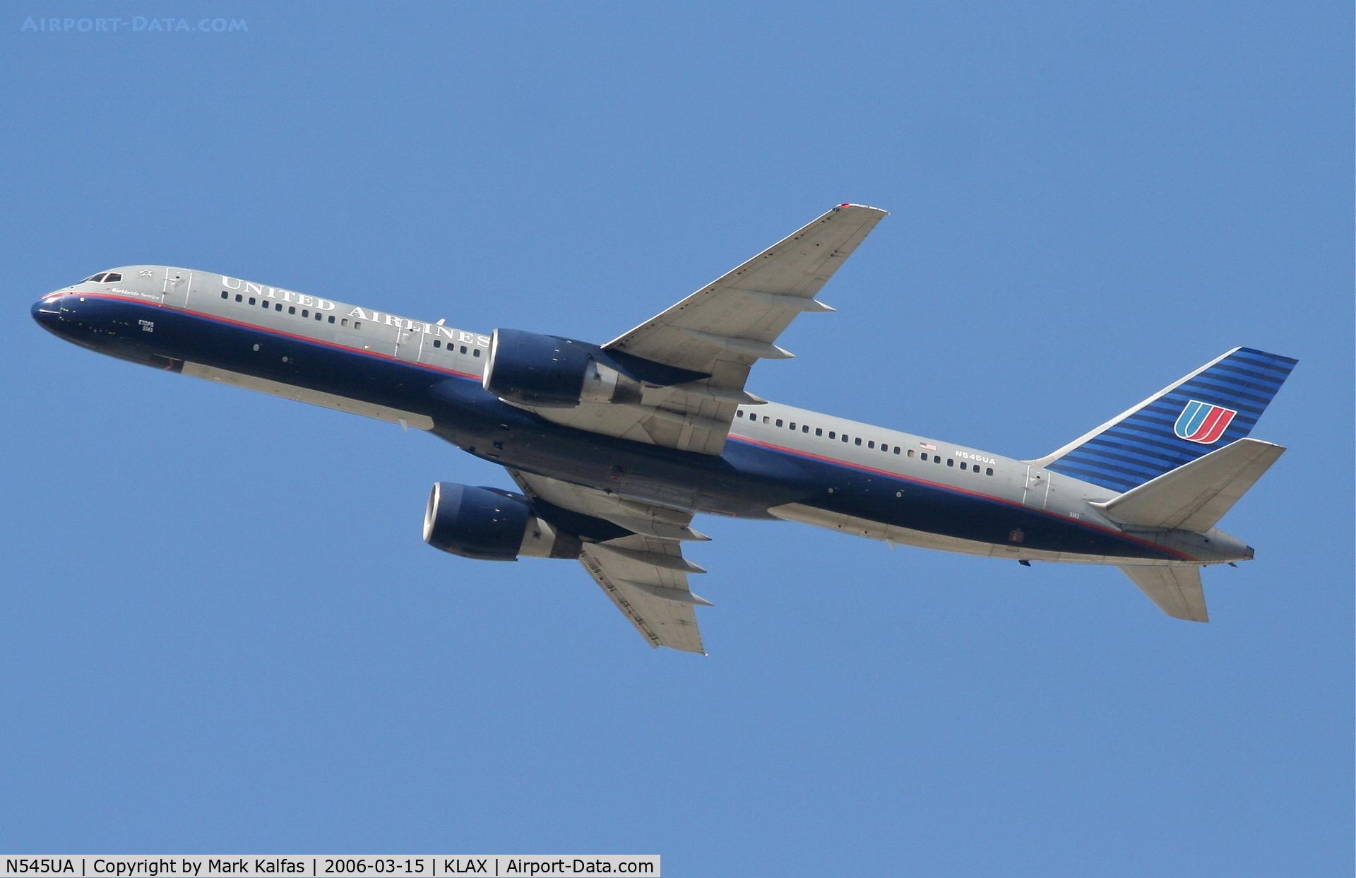 N545UA, 1991 Boeing 757-222 C/N 25323, United Airlines Boeing 757-222, N545UA departing KLAX 25R.
