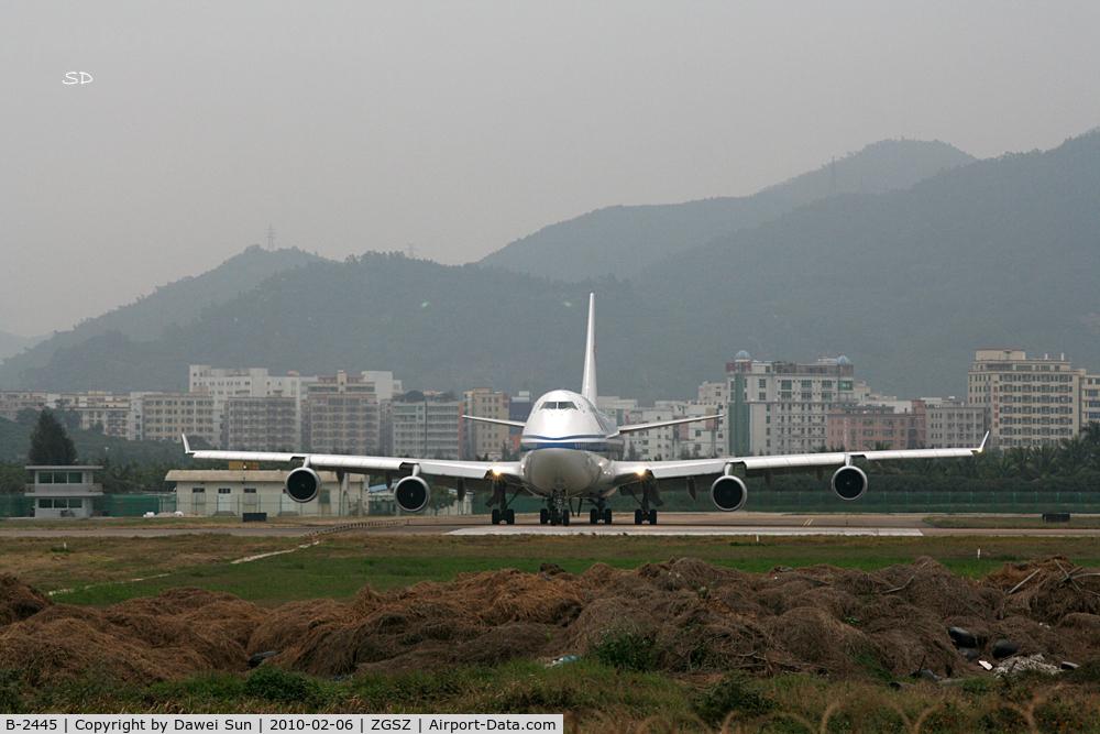 B-2445, Boeing 747-4J6 C/N 25882, SZX RWY 15