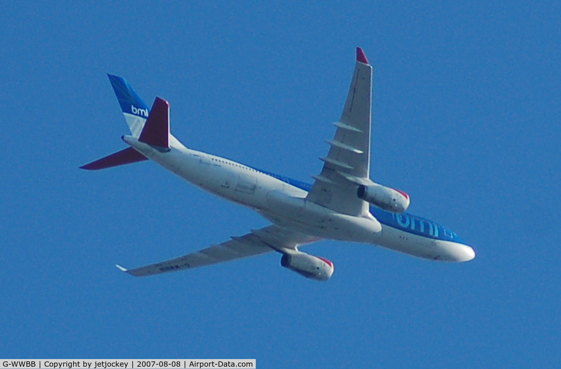 G-WWBB, 2001 Airbus A330-243 C/N 404, Passing over the house