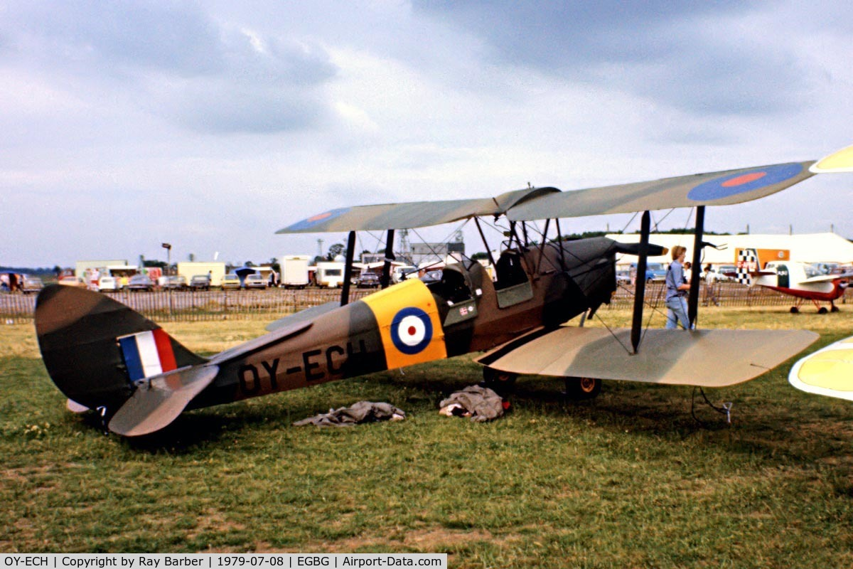 OY-ECH, De Havilland DH-82A Tiger Moth II C/N 85234, De Havilland DH.82A Tiger Moth [85234] Leicester~G 08/07/1979. Seen at PFA Fly In Leicester in 1979 .Image from a slide.