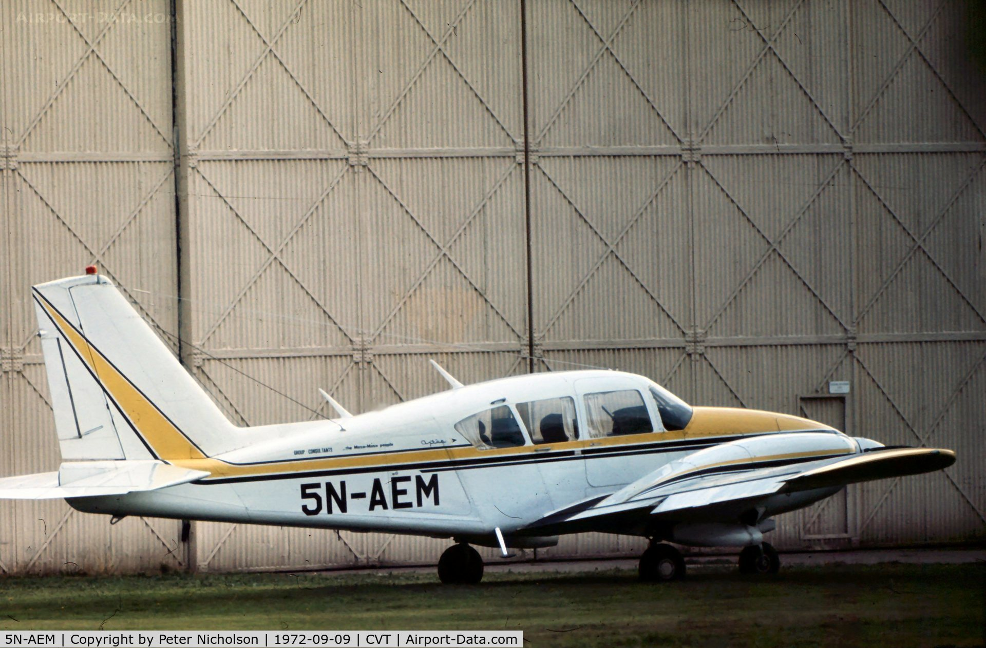 5N-AEM, 1970 Piper PA-23-250 Aztec C/N 274546, PA-23 Aztec 250 seen at Coventry Airport in September 1972 retained Nigerian markings until at least 1975.