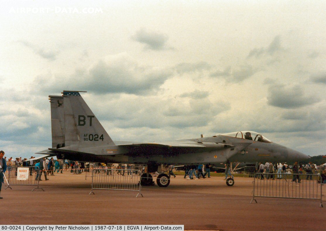 80-0024, 1980 McDonnell Douglas F-15C Eagle C/N 0668/C173, F-15C Eagle, callsign Eagle 62, of 525th Tactical Fighter Squadron/36th Tactical Fighter Wing on display at the 1987 Intnl Air Tattoo at RAF Fairford.