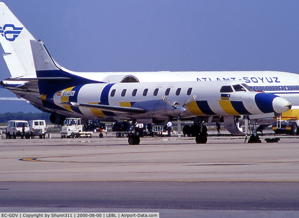 EC-GDV, Swearingenn SA226-AT C/N AT-043, Parked at the ramp of LEBL... In October 2001, this aircraft was w/o into the Mediterranean Sea due to an electrical storm. 10 passengers died...