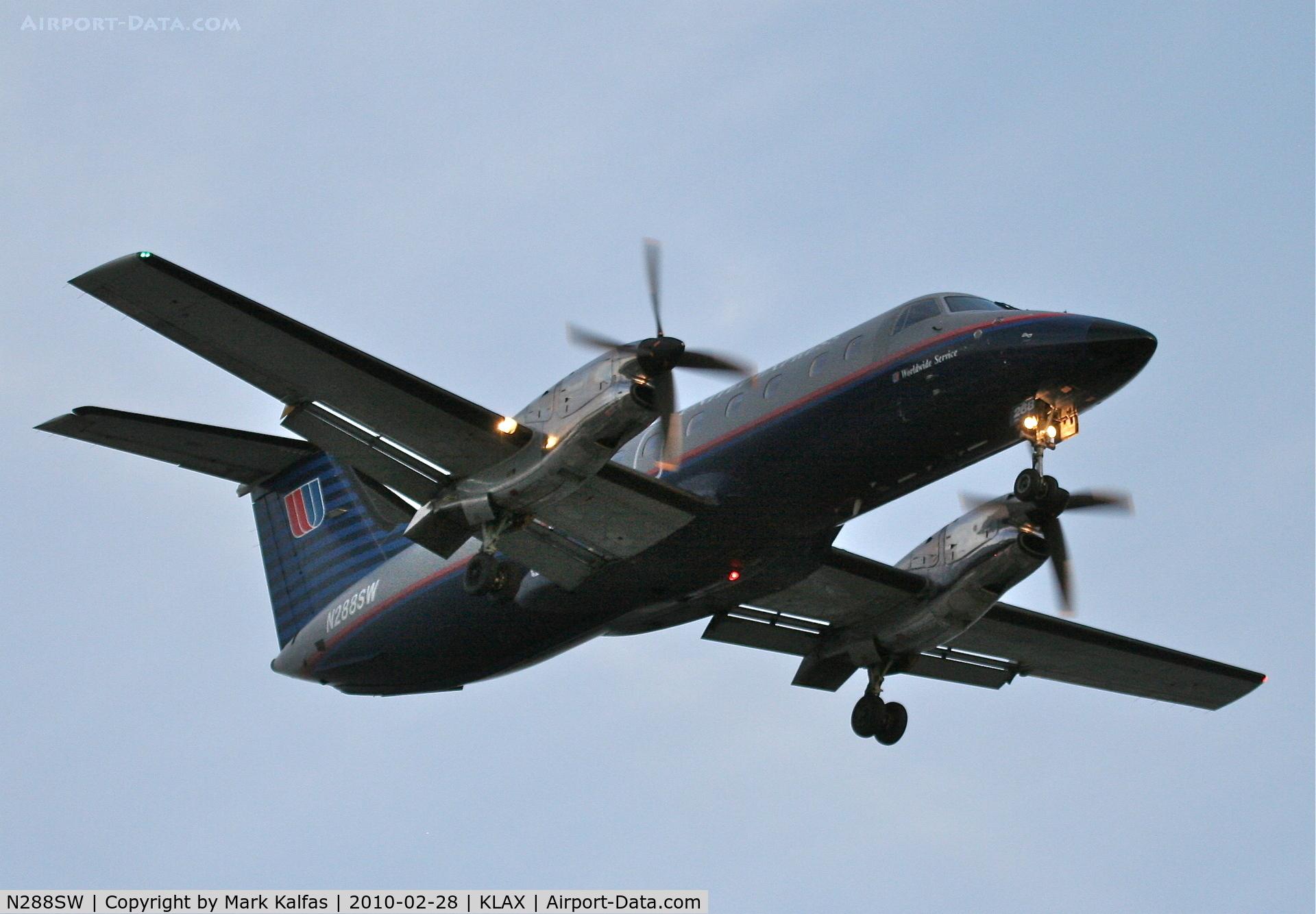 N288SW, 1996 Embraer EMB-120ER Brasilia C/N 120316, SkyWest Embraer EMB-120ER, SKW79Z from KBLF, 24R approach KLAX.