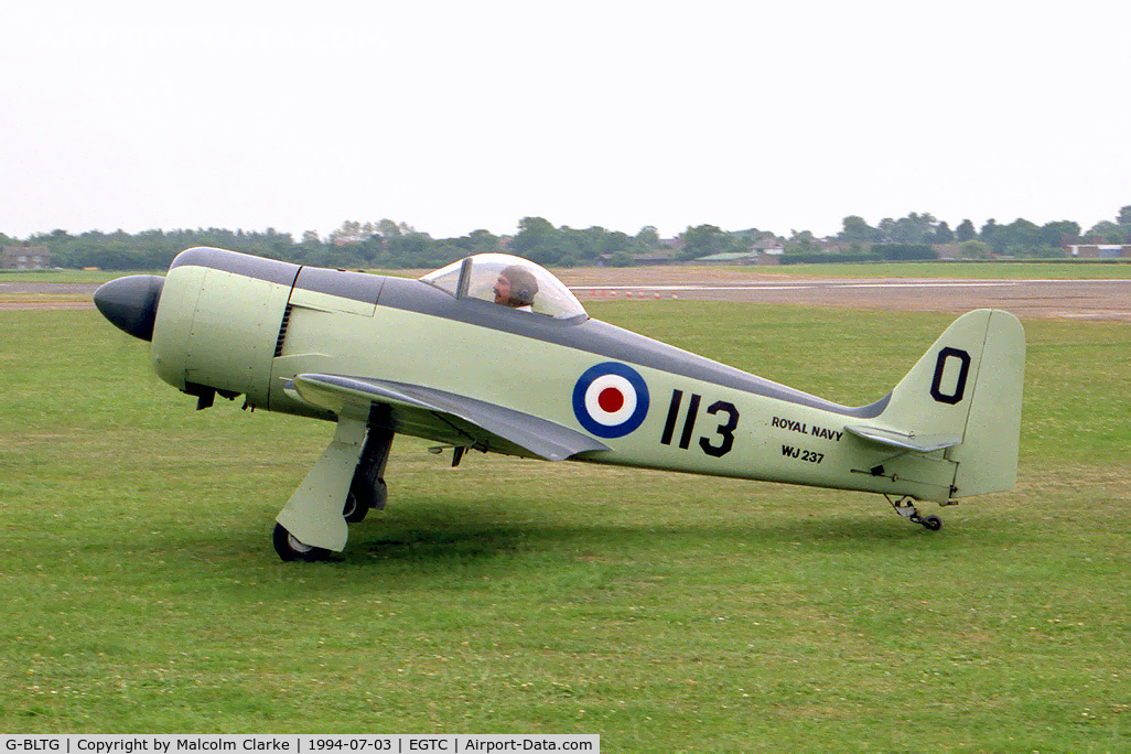 G-BLTG, 1986 WAR Hawker Sea Fury C/N PFA 120-10721, WAR Hawker Sea Fury. A half scale replica of the famous Royal Navy aircraft, sadly destroyed in an accident at Crosland Moor in 1996. Seen here at the PFA Rally,Cranfield in 1994