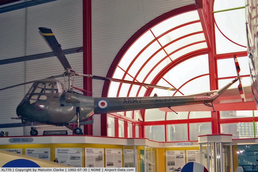 XL770, 1958 Saunders-Roe Skeeter AOP.12 C/N S2/5086, Saro (Saunders-Roe) Skeeter AOP12 at The Hall of Aviation, Southampton in 1992.