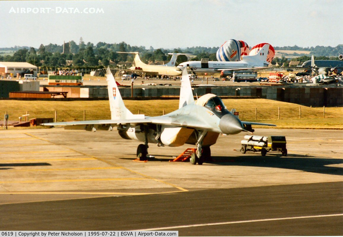 0619, Mikoyan-Gurevich MiG-29AS C/N 2960535406/4713, MiG-29 Fulcrum A of 1 Squadron Slovak Air Force on the flight-line at the 1995 Intnl Air Tattoo at RAF Fairford.
