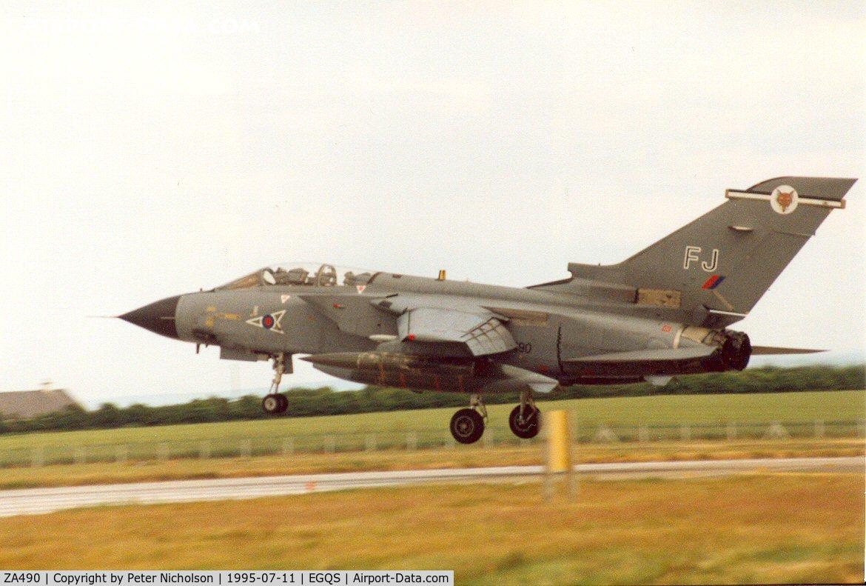 ZA490, 1983 Panavia Tornado GR.1B C/N 305/BS106/3142, Tornado GR.1B, callsign Jackal 2, of 12 Squadron landing at RAF Lossiemouth in the Summer of 1995.