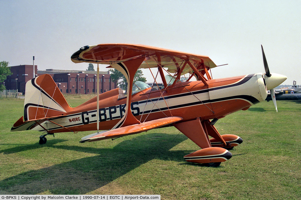 G-BPKS, 1980 Stolp SA-300 Starduster Too C/N 1064, Stolp SA-300 Starduster Too at Cranfield Airport in 1990.