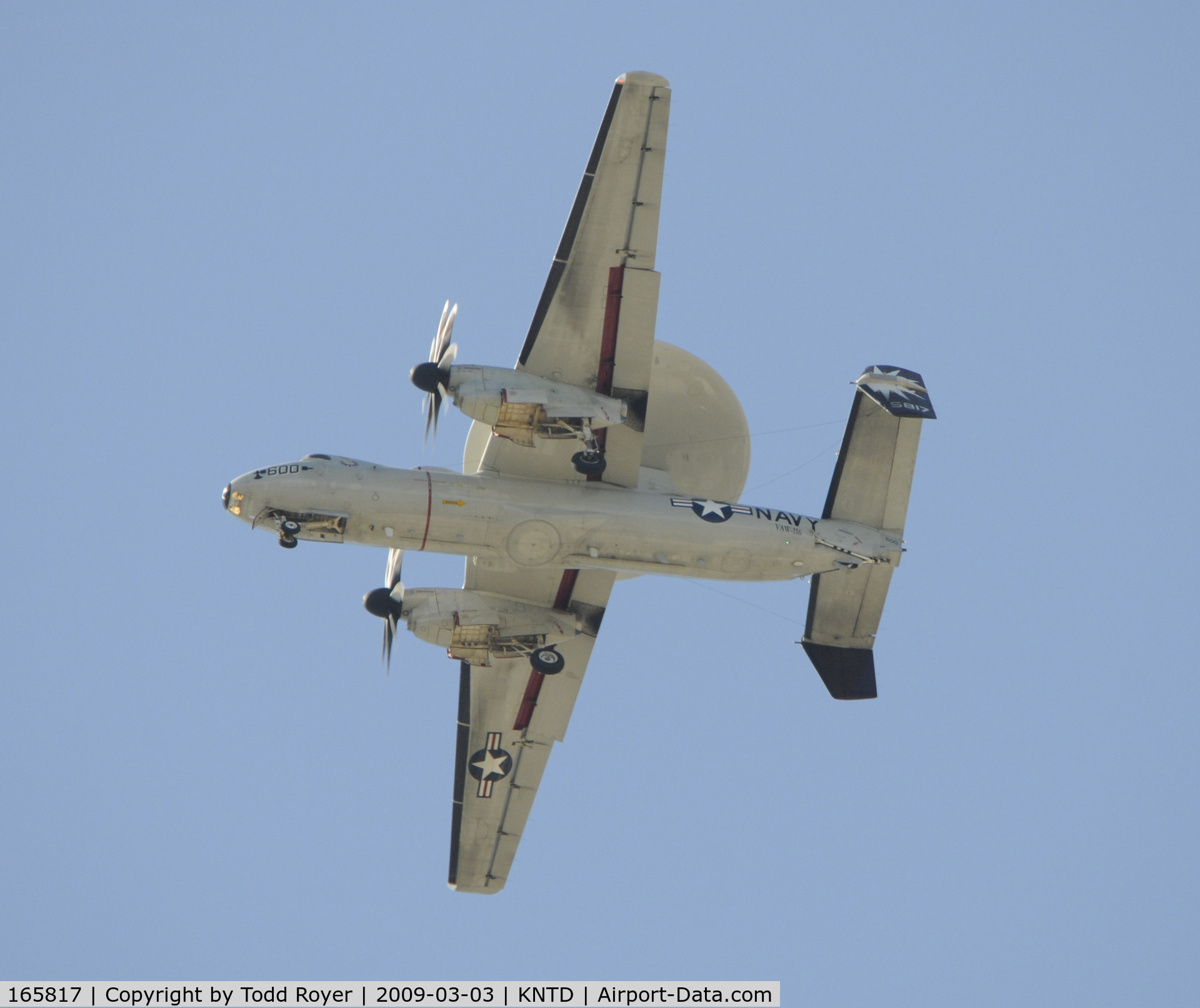 165817, 2000 Northrop Grumman E-2C Hawkeye C/N A188, From the backyard
