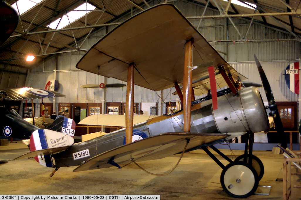 G-EBKY, 1920 Sopwith Pup C/N W/O 3004/14, Sopwith Pup at Old Warden Airfield in 1989. Flown as N5180 of the Royal Air Force.