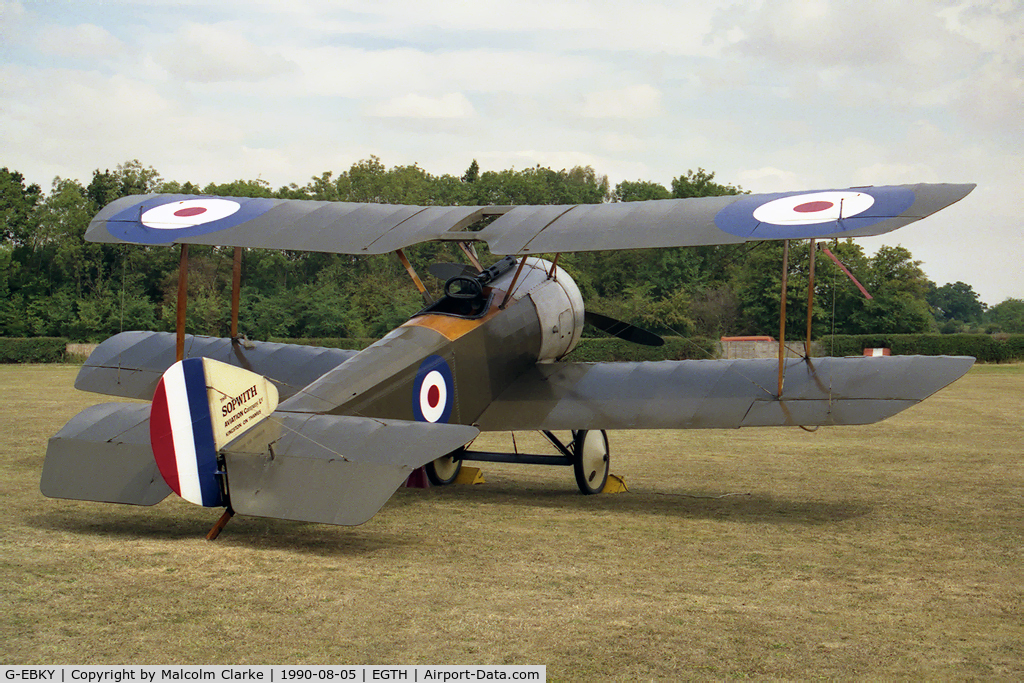 G-EBKY, 1920 Sopwith Pup C/N W/O 3004/14, Sopwith Pup at the Battle Over Britain Air Display in 1990 at Old Warden Airfield. Flown as N5180 of the Royal Air Force.