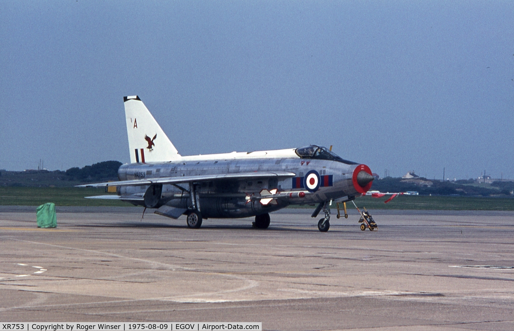 XR753, 1965 English Electric Lightning F.6 C/N 95218, Coded A of 23 Squadron RAF at the RAF Valley Airshow 1975.