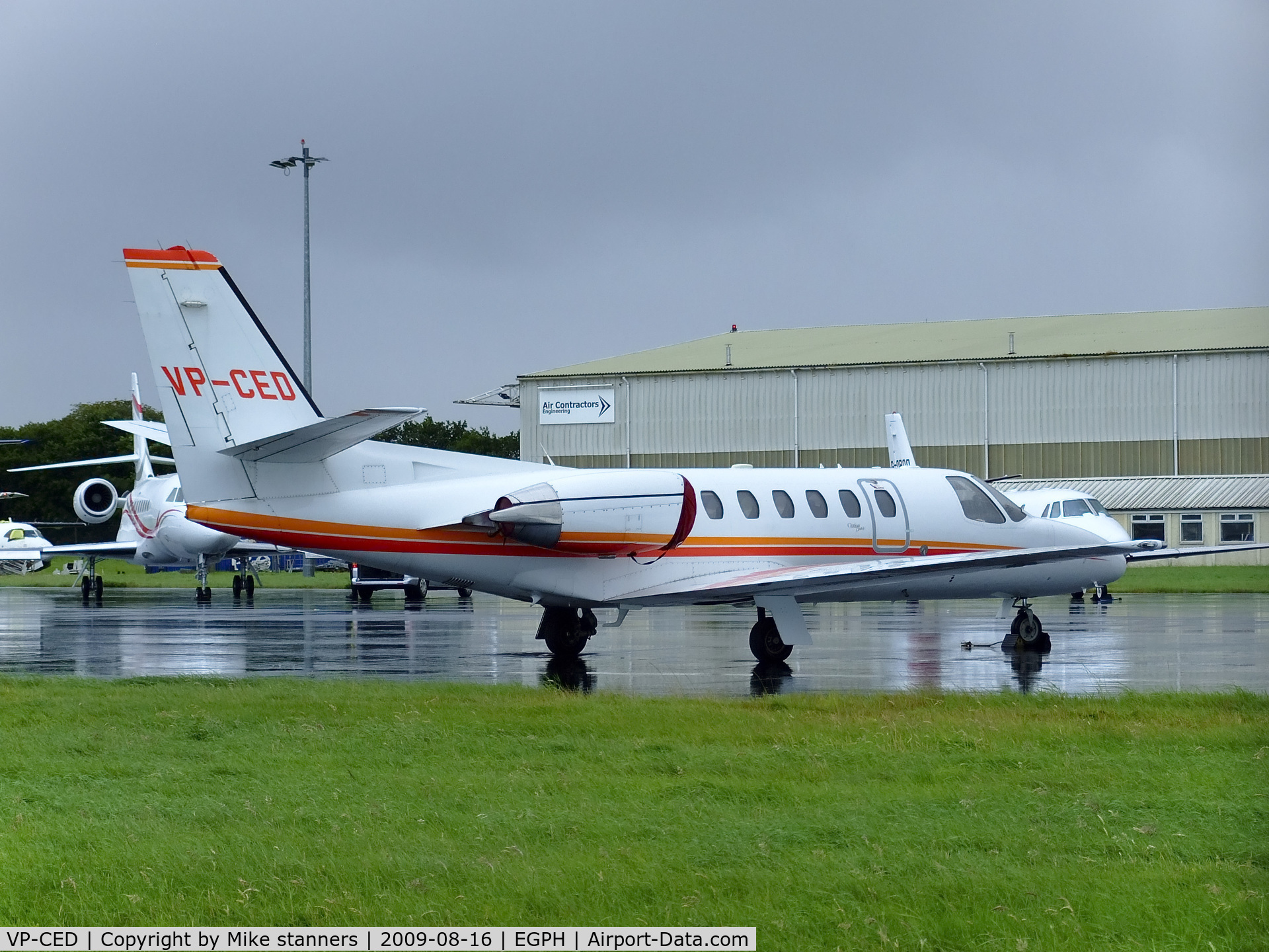 VP-CED, 1999 Cessna 550 Citation Bravo C/N 550-0870, cessna 550 citation bravo ,owned by Iceland,is seen here at a wet EDI