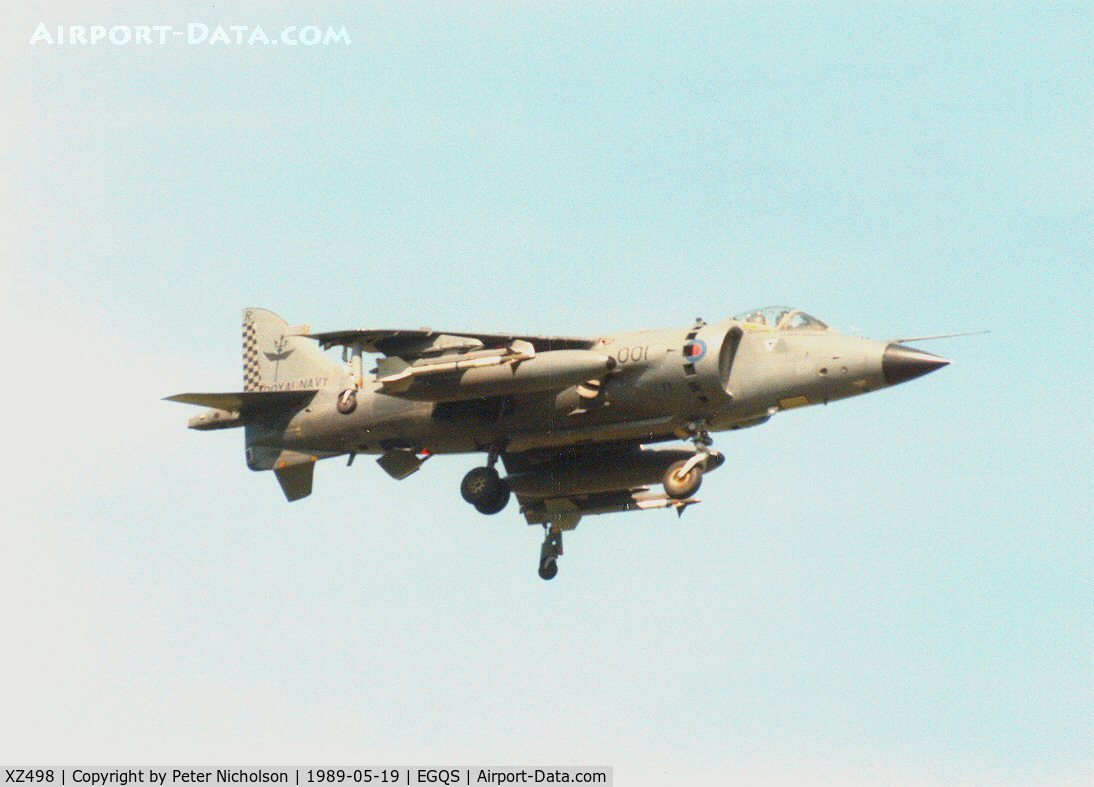 XZ498, 1981 British Aerospace Sea Harrier FRS.1 C/N 41H-912022, Sea Harrier FRS.1 of 801 Squadron landing at RAF Lossiemouth in May 1989.