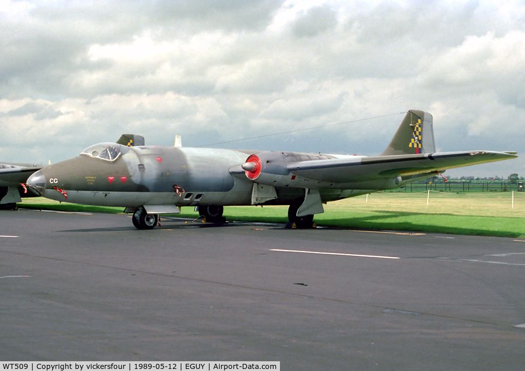 WT509, 1955 English Electric Canberra PR.7 C/N EEP71369, Royal Air Force Canberra PR7 (c/n 71369). Operated by 100 Squadron, coded 'CG'.