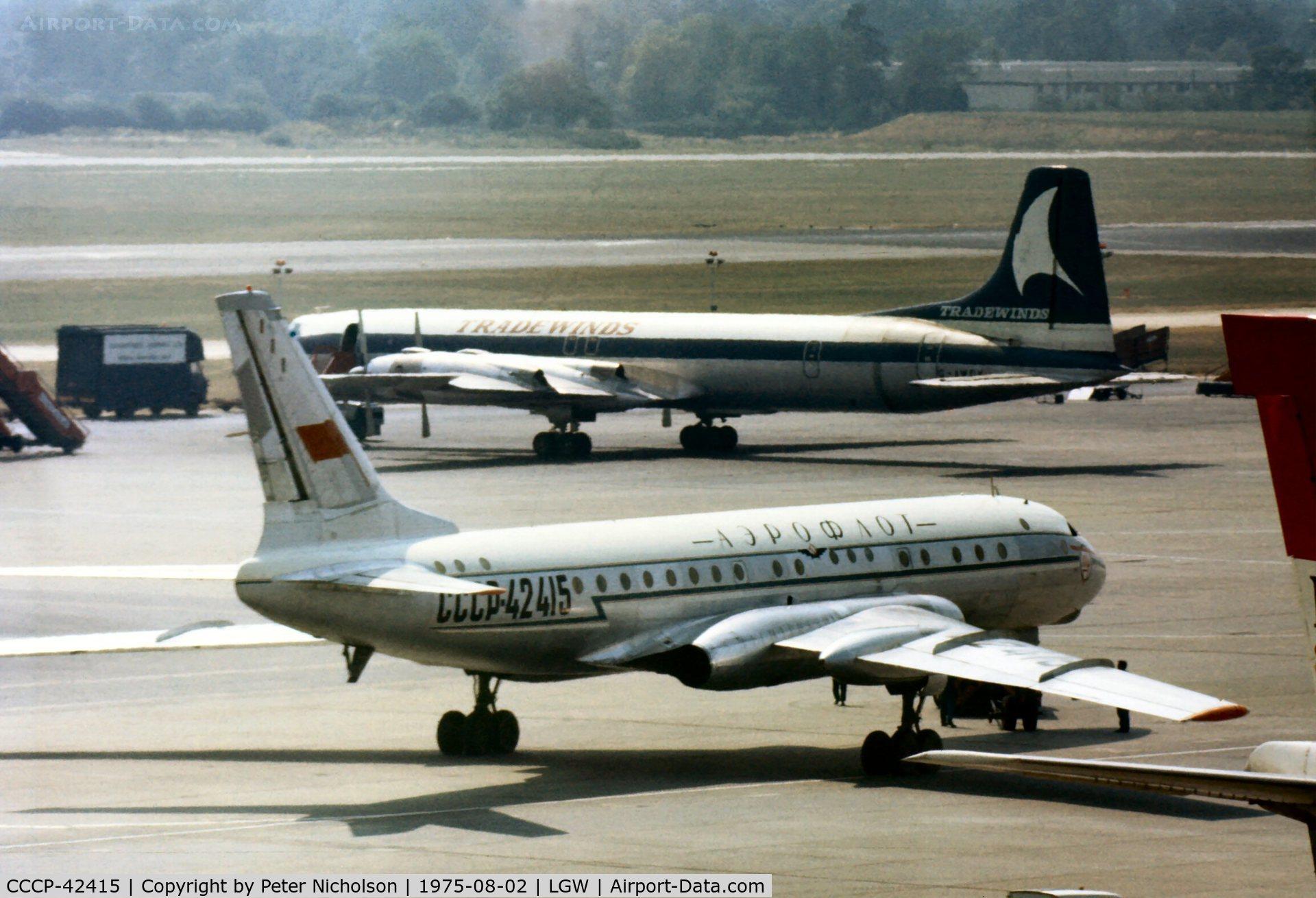 CCCP-42415, 1959 Tupolev Tu-104B C/N 920402, Tu-104 Camel of Aeroflot at London Gatwick in the Summer of 1975.