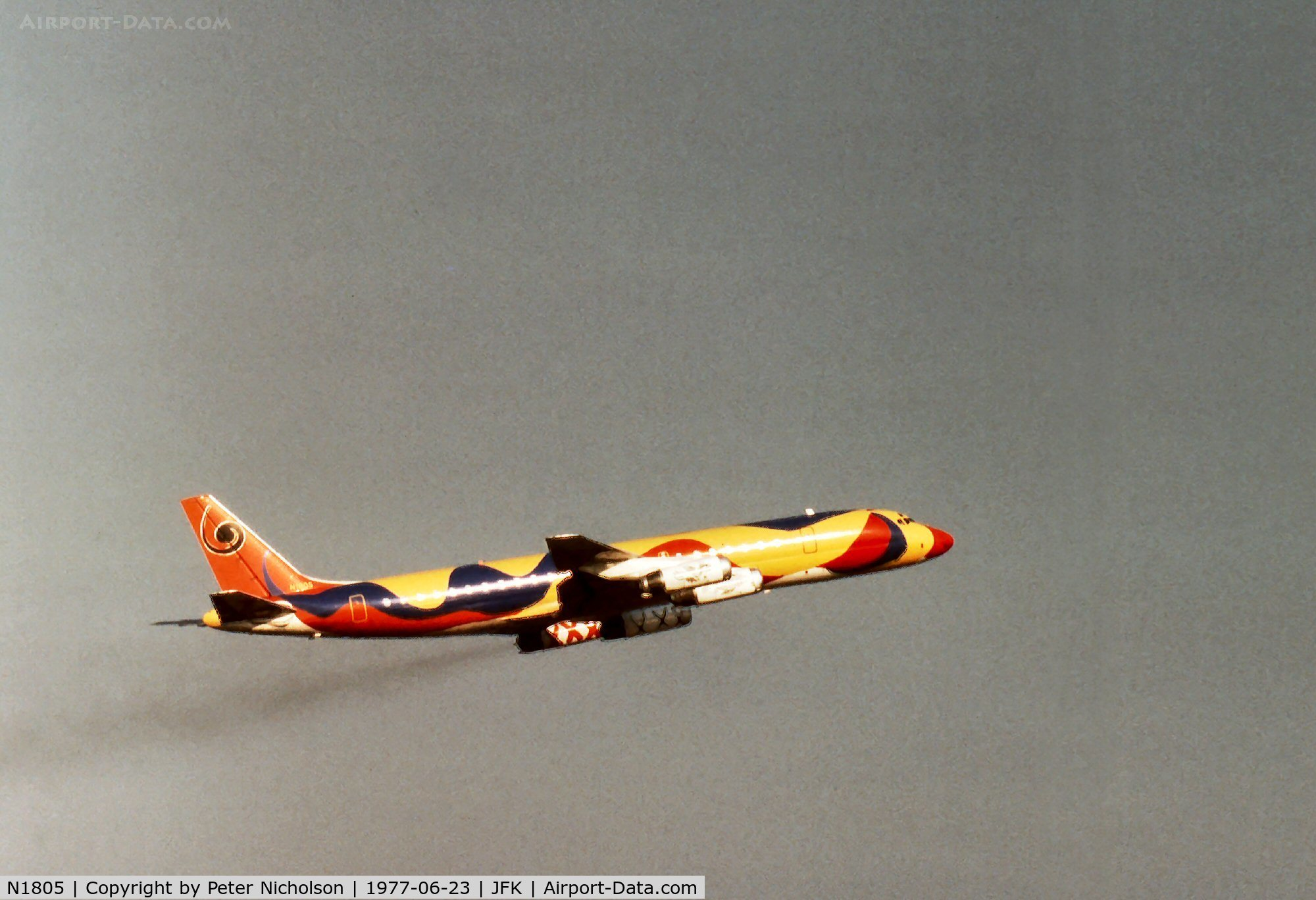 N1805, 1967 Douglas DC-8-62 C/N 45899, Flagship DC-8-62 of the South American fleet of Braniff International Airlines in the distinctive Calder colour scheme departing Kennedy in the Summer of 1977.
