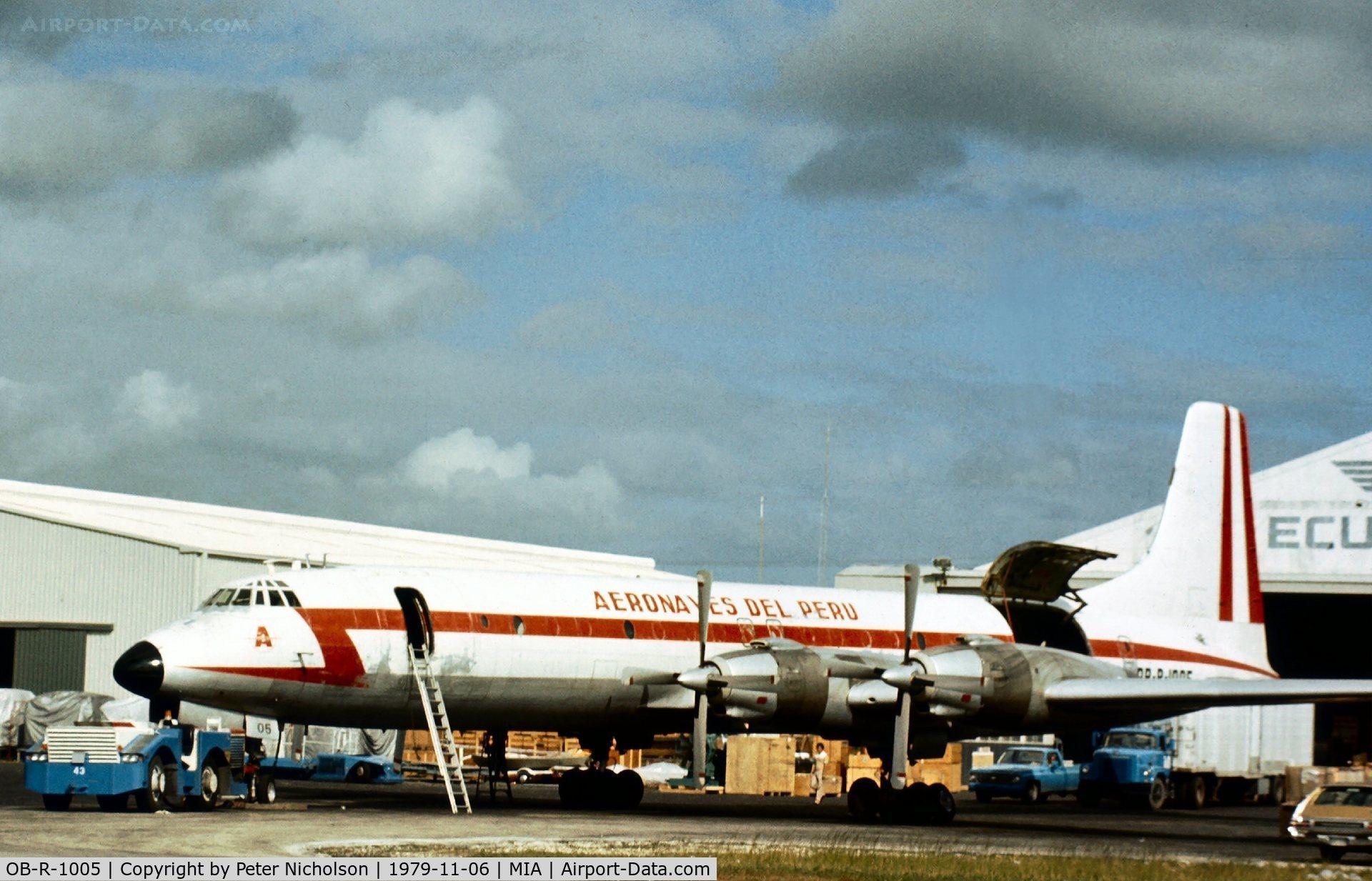 OB-R-1005, 1960 Canadair CL-44-6 (CC-106 Yukon) C/N 6, CL-44-D6 of Aeronaves Del Peru at Miami in November 1979.