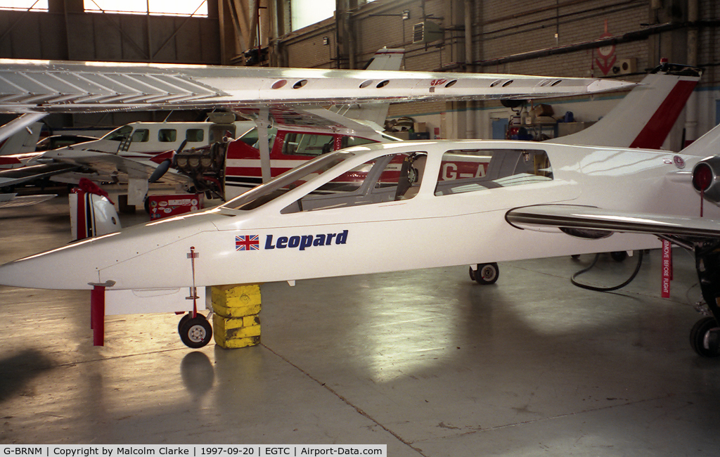 G-BRNM, 1989 Chichester-Miles Leopard C/N 002, Chichester-Miles Leopard at Cranfield Airport, UK in 1997. A 4 seat twin jet powered light aircraft, designed by a former BAe Chief Research Engineer, it first flew in December 1988.