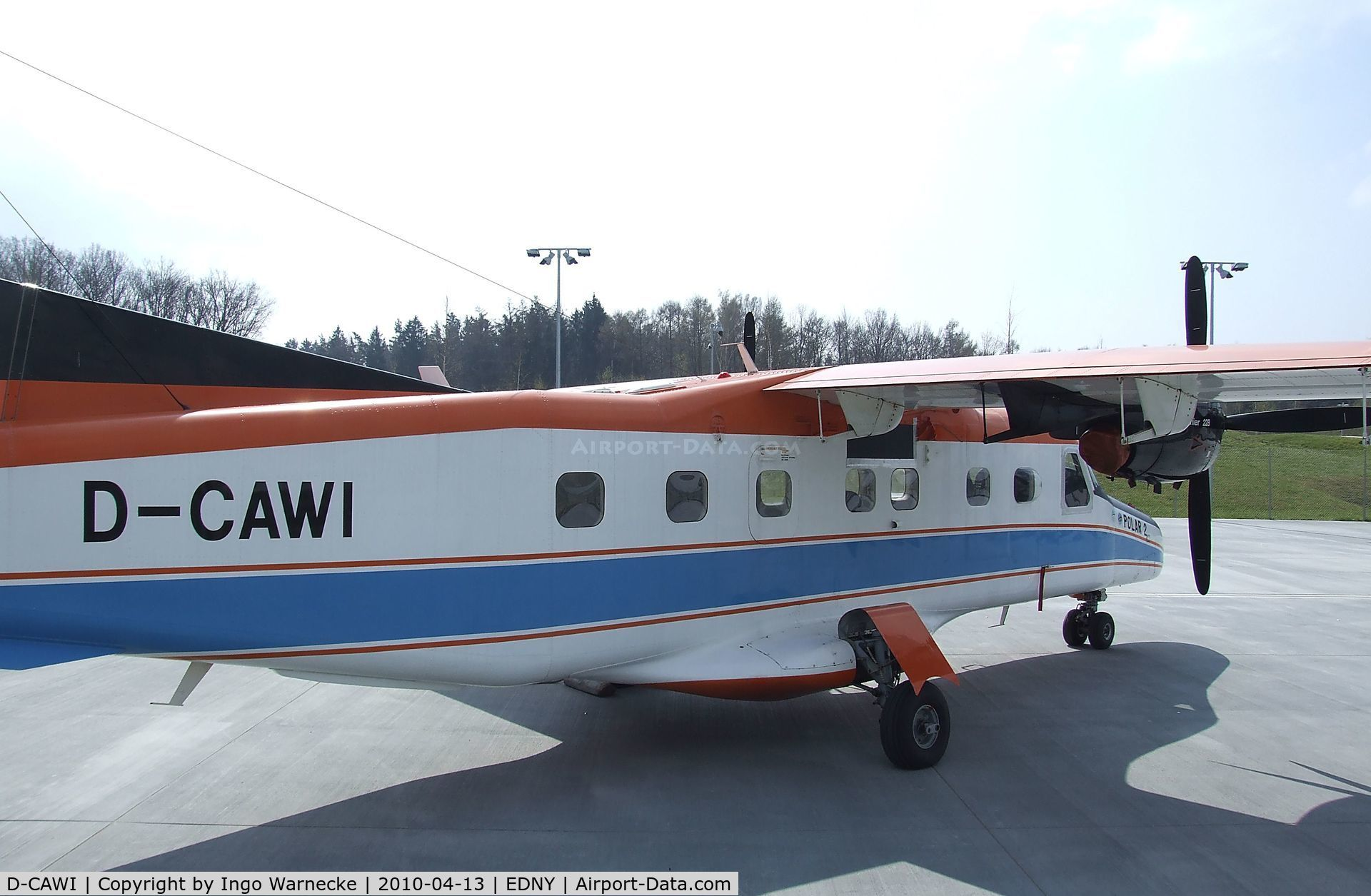 D-CAWI, 1983 Dornier 228-101 C/N 7014, Dornier Do 228-101 (formerly 'POLAR 2' operated by the German polar research institute (Alfred Wegener Institut)) standing outside the Dornier-Museum to be sold in May 2010. Before it had been exhibited at the Dornier Museum for some months.