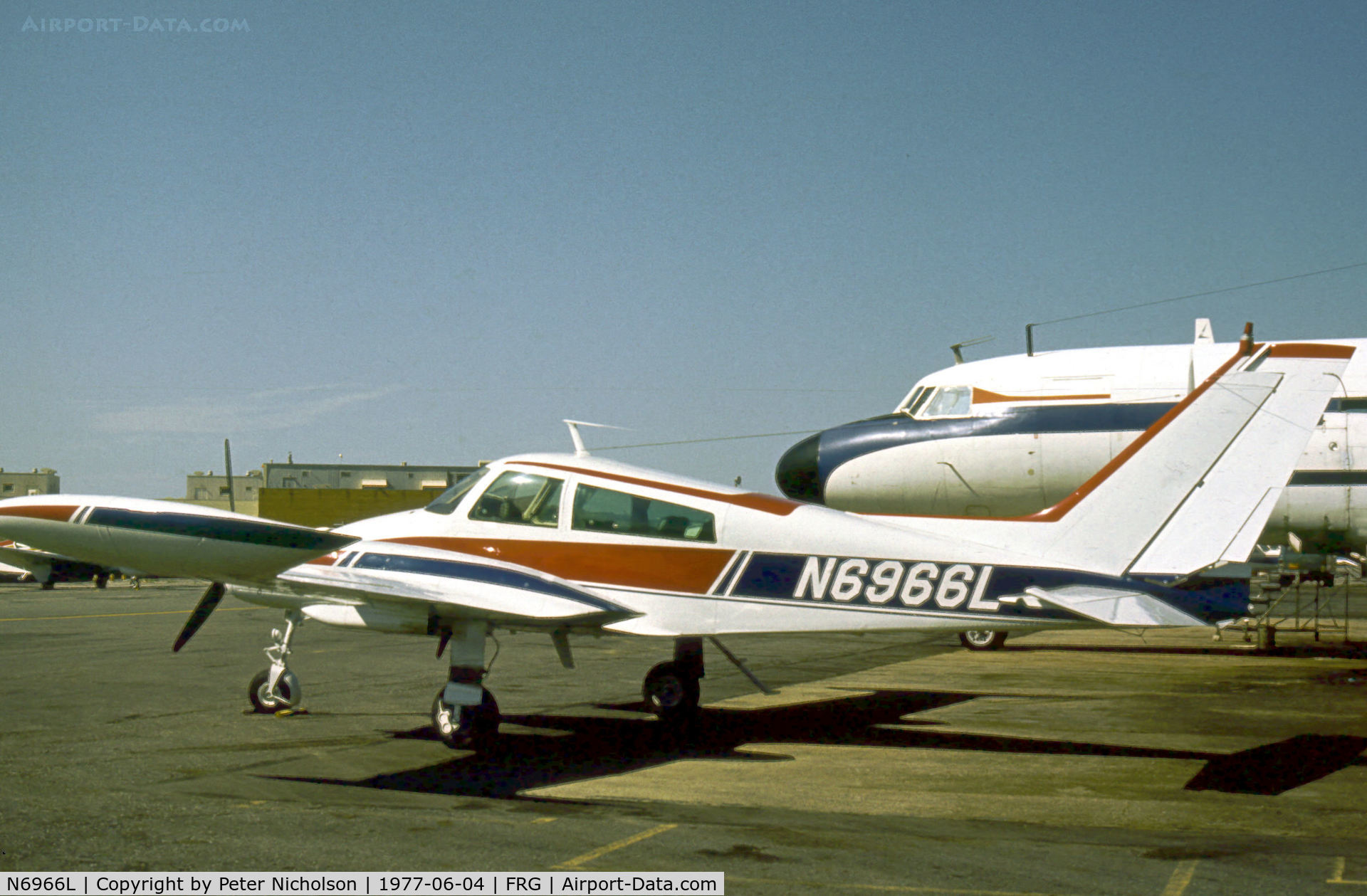 N6966L, 1966 Cessna 310K C/N 310K0066, Cessna 310K resident at Republic Airport on Long Island in the Summer of 1977.