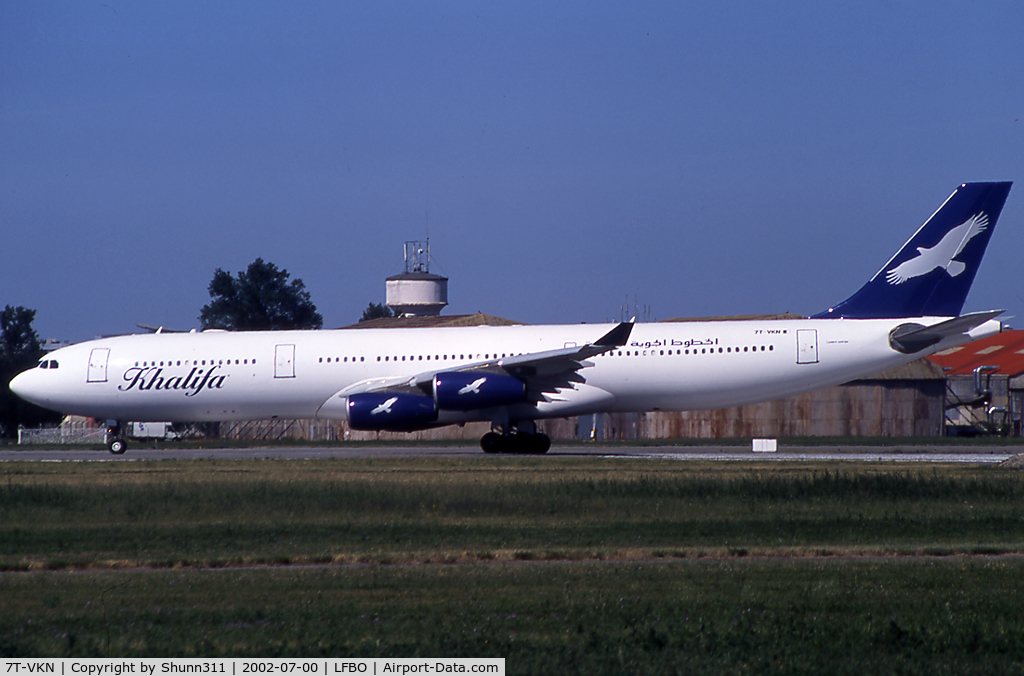 7T-VKN, 1996 Airbus A340-313 C/N 149, Ready for take off rwy 32R