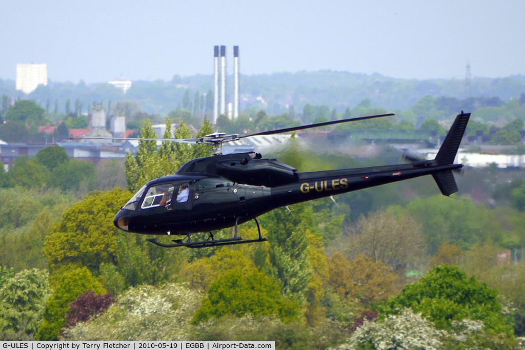 G-ULES, 1987 Aerospatiale AS-355F-2 Ecureuil 2 C/N 5364, 1987 Aerospatiale AS355F2 departs Birmingham