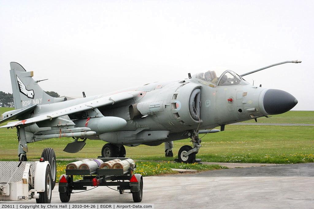 ZD611, 1985 British Aerospace Sea Harrier F/A.2 C/N 41H-912050/B44/P15, BAe Sea Harrier F/A2, with the School of Flight Deck Operations at RNAS Culdrose