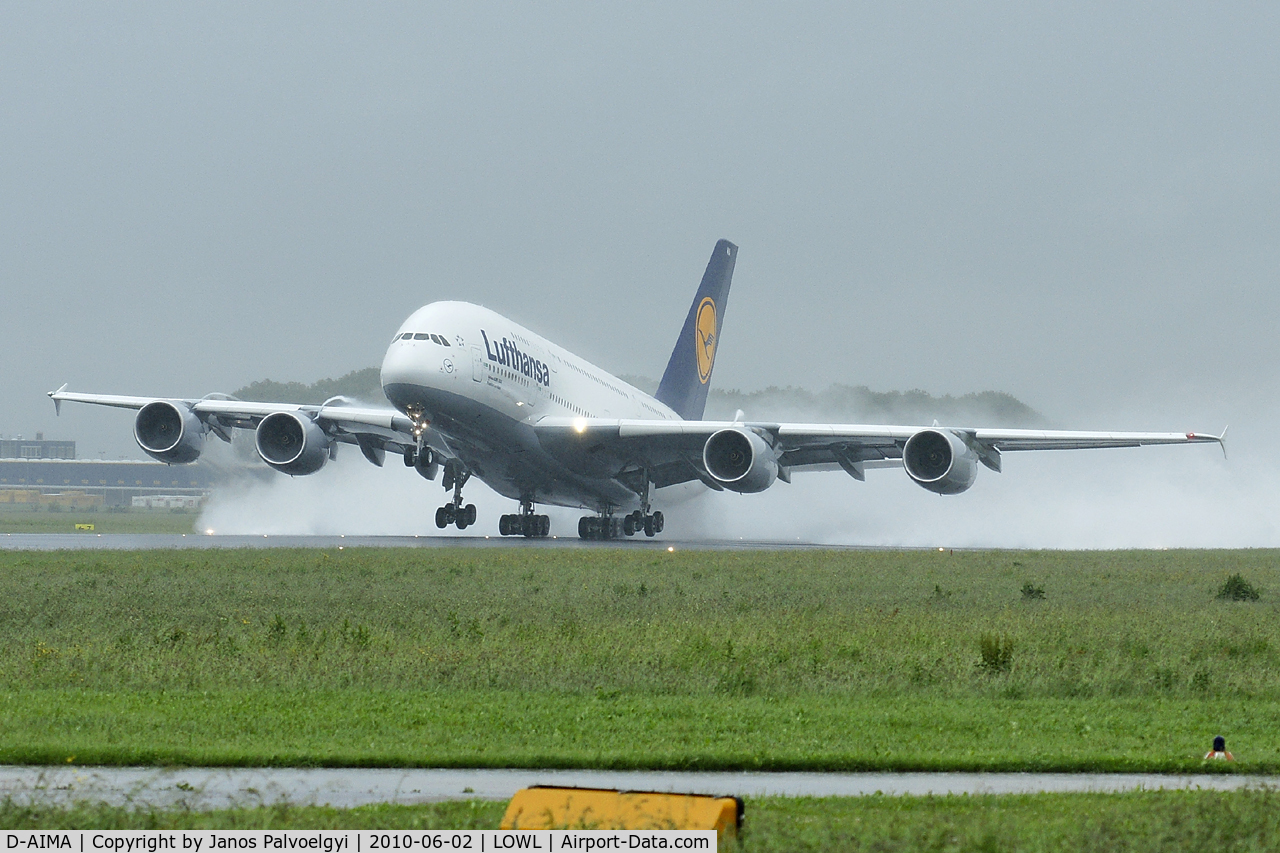 D-AIMA, 2010 Airbus A380-841 C/N 038, Lufthansa Airbus A380-841 take off in LOWL/LNZ on RWY27