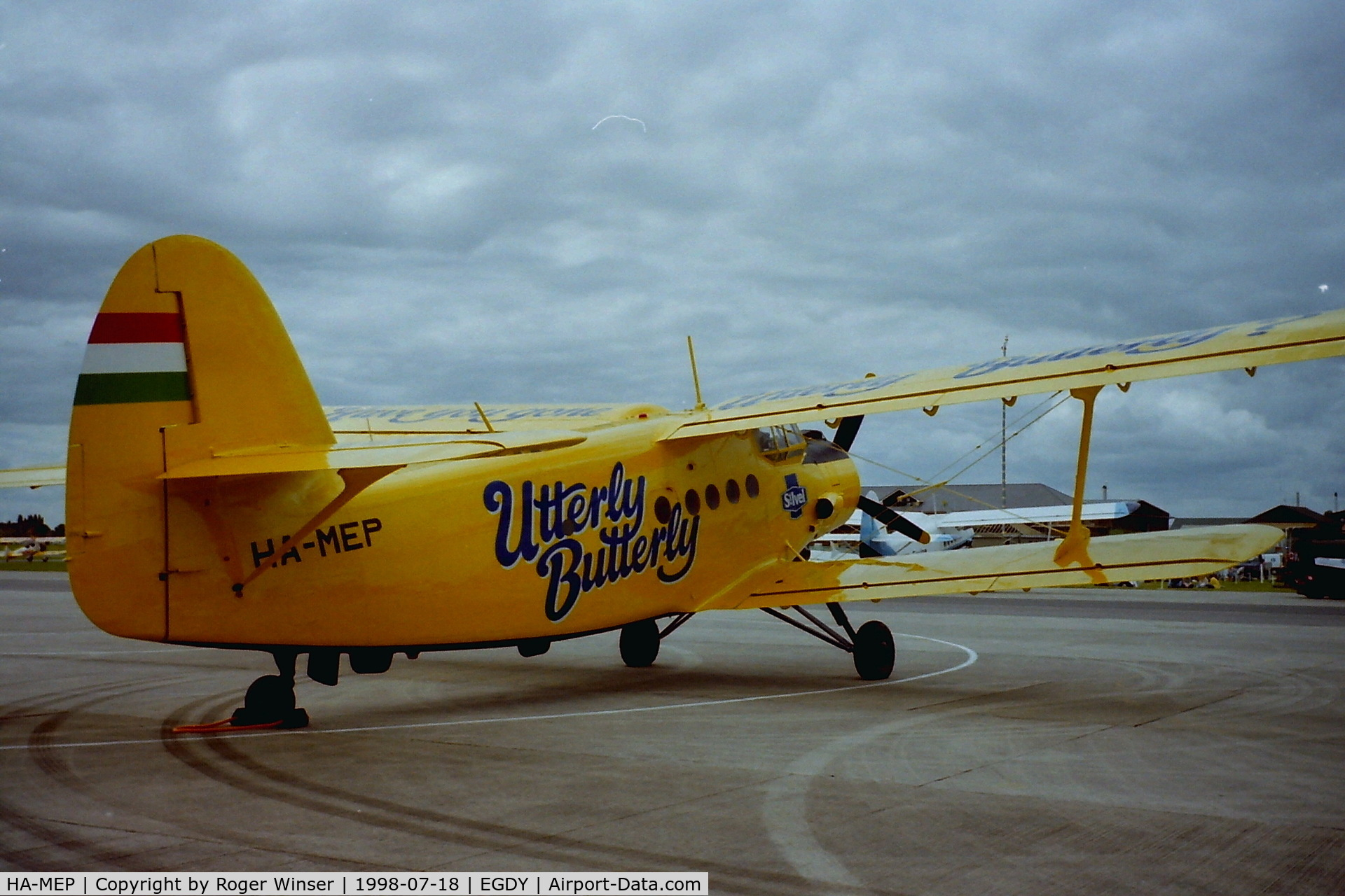 HA-MEP, 1980 Antonov An-2R C/N 1G190-25, St Ivel Utterly Buttery display aircraft at RNAS Yeovilton Air Day in 1998.