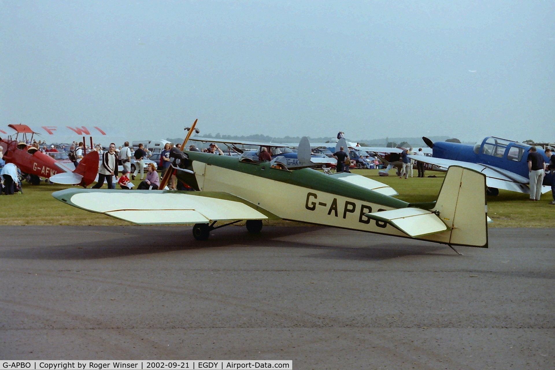 G-APBO, 1960 Druine D-5 Turbi C/N PFA 229, At RNAS Yeovilton Air Day in 2002.