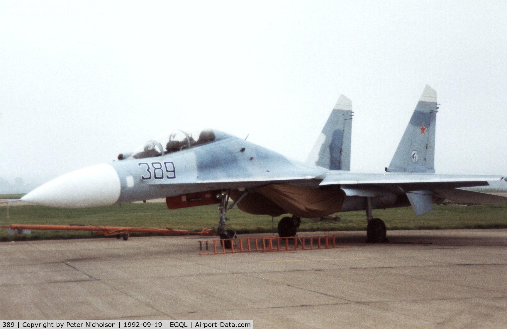 389, Sukhoi Su-27UB C/N 25389, Su-27B Flanker from Kubinka Air Base on display at the 1992 RAF Leuchars Airshow.