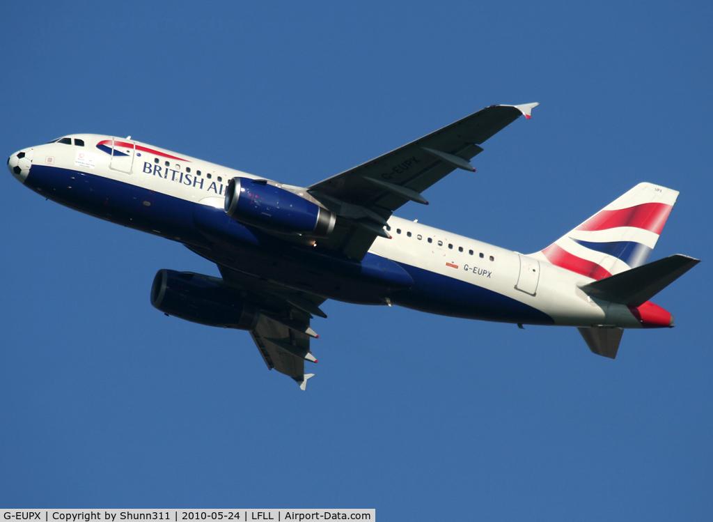 G-EUPX, 2001 Airbus A319-131 C/N 1445, Taking off rwy 18R