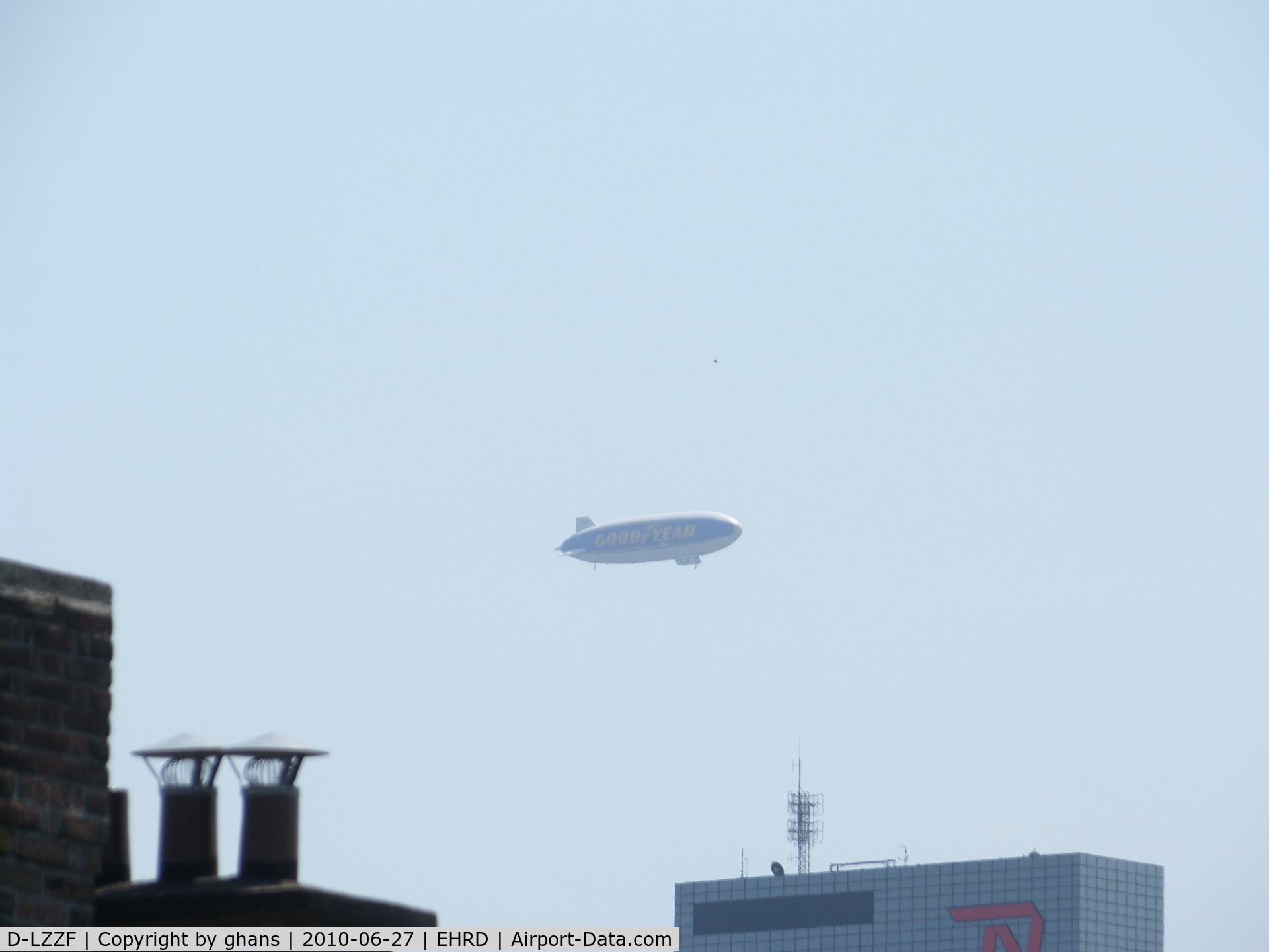 D-LZZF, 1998 Zeppelin LZ-N07 C/N 3, Zeppelin above city of Rotterdam