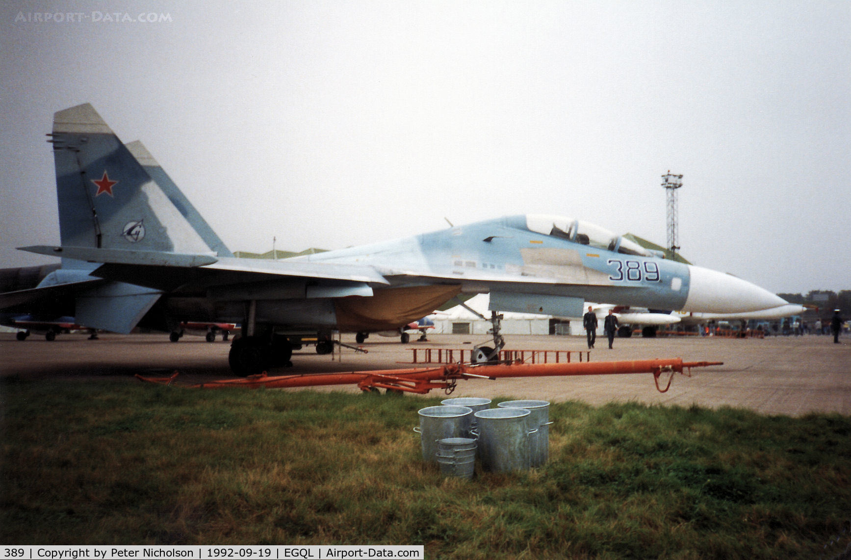 389, Sukhoi Su-27UB C/N 25389, Su-27B Flanker on display at the 1992 RAF Leuchars Airshow.